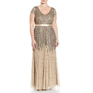 Adrianna Papell Plus Size Beaded …